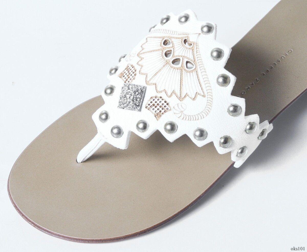 new $550 Giuseppe ZANOTTI white leather STUDDED jeweled thong mules flats shoes