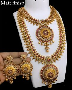 Indian Gold Plated Long Choker Necklace Fine Jewelry Wedding