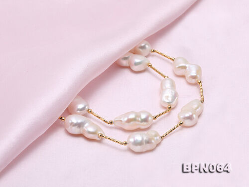"""Beautiful 12×20-11.5×28mm White Baroque Real Freshwater Pearl Chain Necklace 18/"""""""