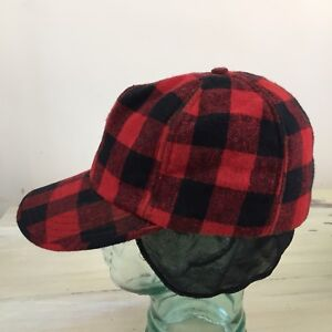 3fc22a8f4f0 Image is loading BUFFALO-PLAID-HUNTING-HAT-Vtg-Mid-Century-Wool-