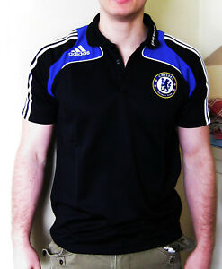 Vintage-New-ADIDAS-CHELSEA-Football-Polo-Shirt-Polyester-Black-38-40-034