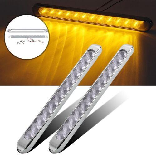 "Amber 2x 17/"" Waterproof 12LED Marker Light Bar w//Chrome bezels Clear Lens"