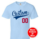 CUSTOM PRINTED Script & Tail Styling Baseball T Shirt -Personalize Text & Number