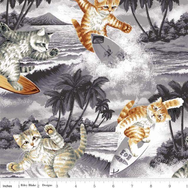 REST Surfin Cats Katzen Baumwollstoffe Patchwork Patchworkstoffe Kinder Stoffe