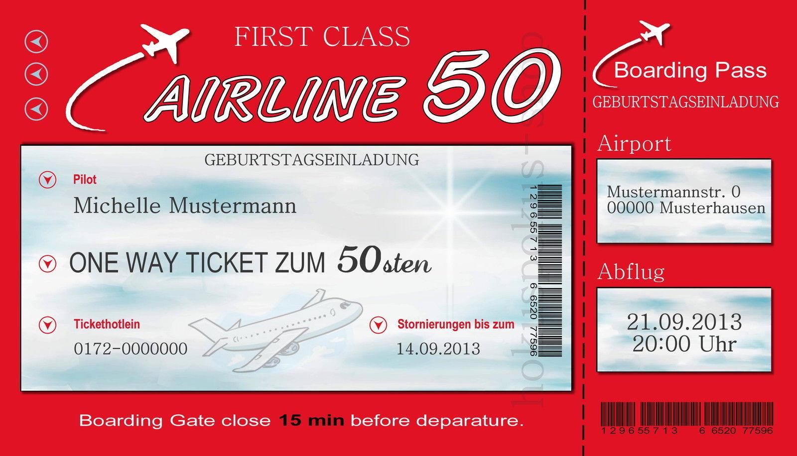 50 rigolos invitation cartes anniversaire Invitations billet d'avion Fête Chaque age