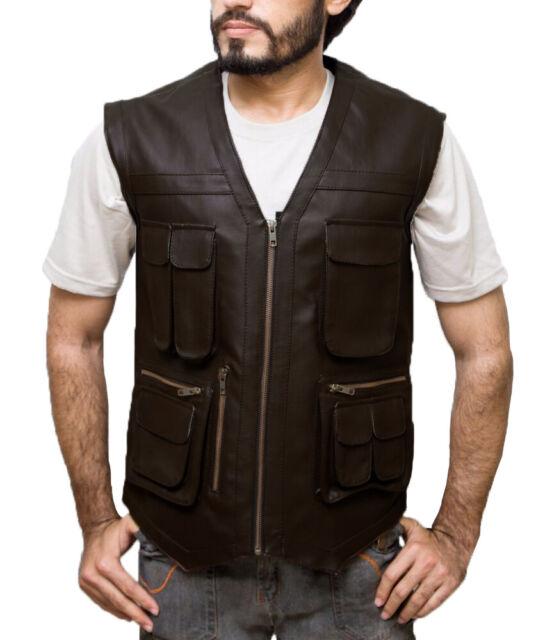 Jurassic World Fallen Kingdom Owen Grady Men/'s Brown Chris Pratt Leather Vest