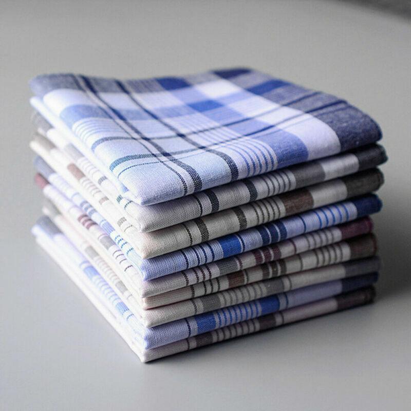 5Pcs Mens Square Check Stripe Handkerchiefs Handkerchief Pocket Watch