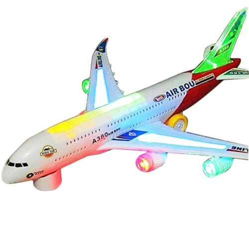 Contains 3D Light /& Changes Direction Bump /& Go Kids Airplane Self Driving Toy