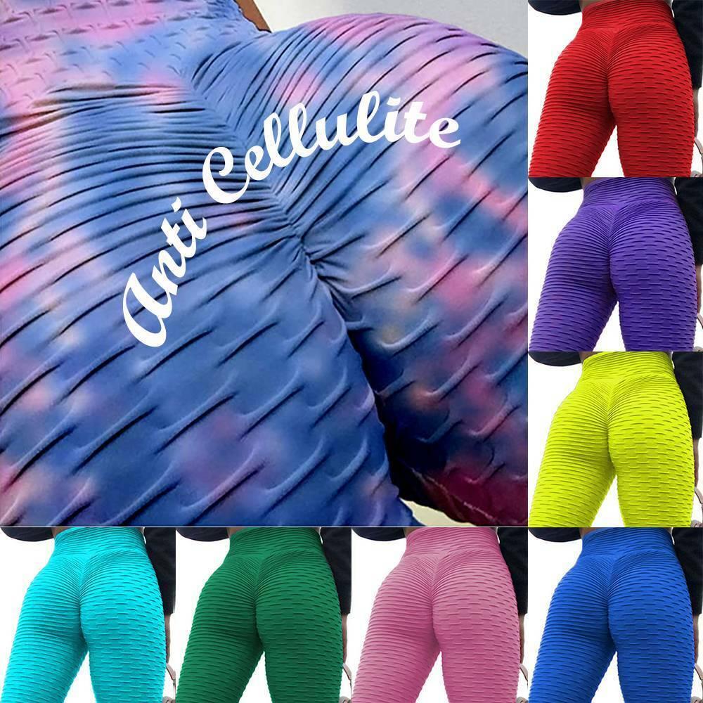 Womens Anti-Cellulite Yoga Pants High Waist Sports Gym Leggings Scrunch Trousers
