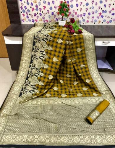Kanjivaram Banarasi Silk saree blouse Indian Traditional Sari Wedding Ethnic  IS