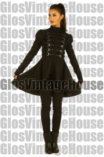 Black Steampunk Ladies Gothic floral coat jacket top with studs top