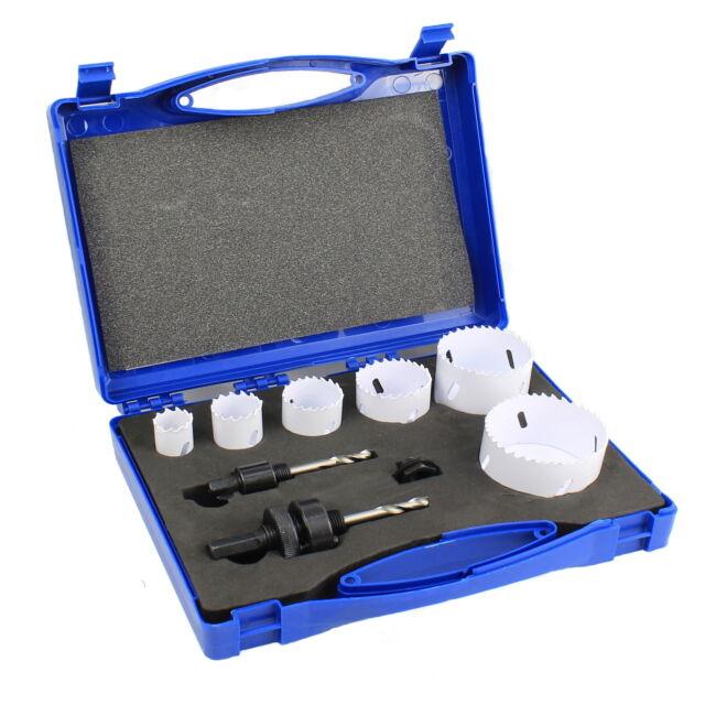 Lochsäge Set Satz HSS Bi-Metall Dosenbohrer Bohrkronen Koffer 22-68 mm 9 teilig