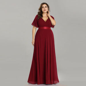 Christmas Evening Dresses Uk.Details About Ever Pretty Us Plus Size Double V Neck Formal Party Prom Burgundy Christmas Gown