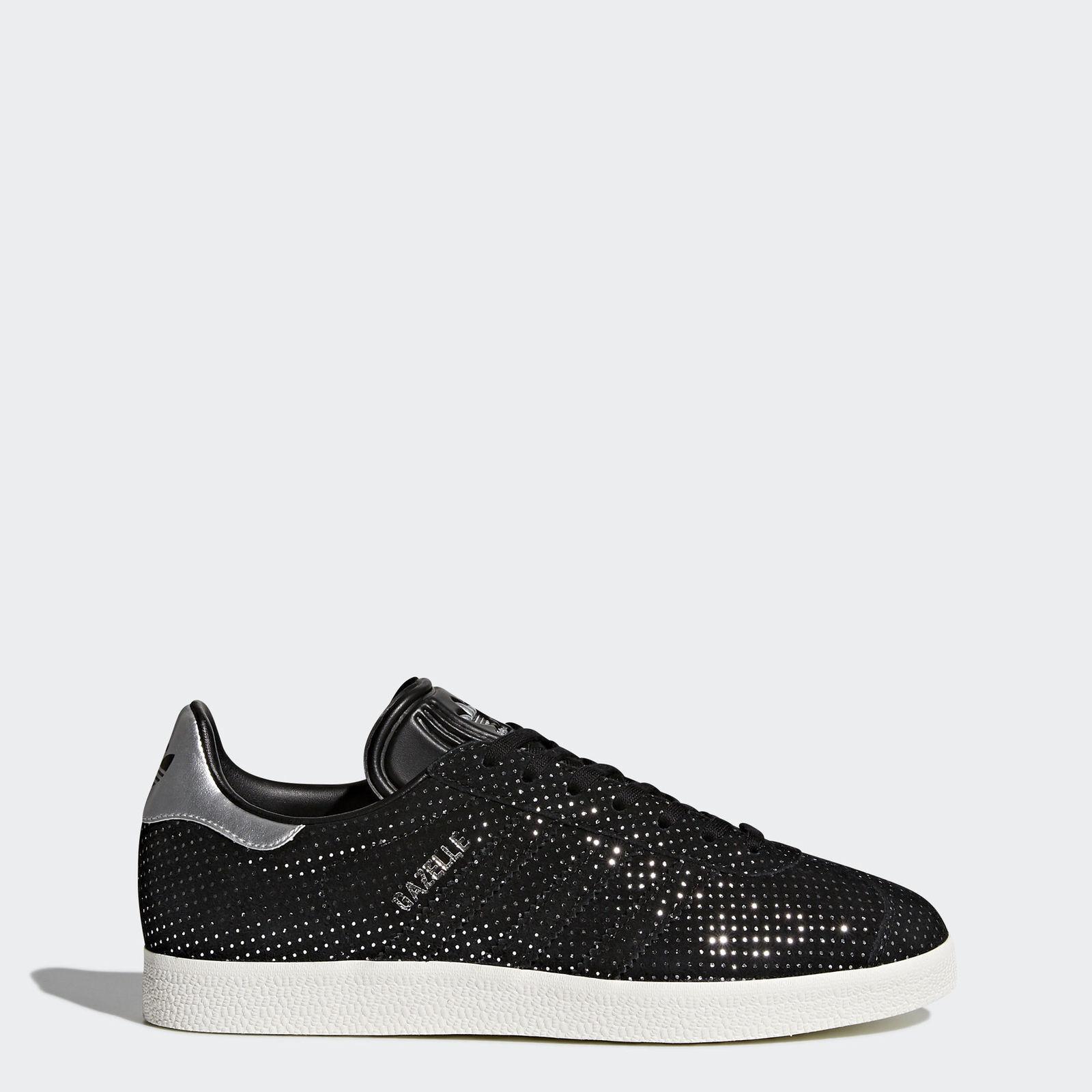 Nouveau Femmes Adidas Originals Gazelle Chaussures Couleur  Noir Argent Taille  10.5
