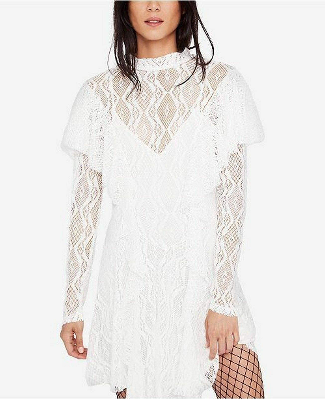 Free People Rock Candy Lace Mock Neck Dress Ivory Größe M NWT  Retail