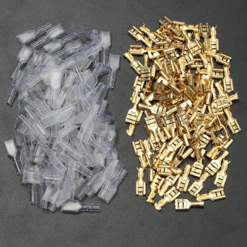 200 Stk Set Kabelschuh Steckverbinder Flachsteckhülsen Flachstecker Spade Sleeve