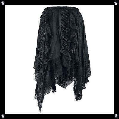 Gothic Rock Lolita Zipfelrock Halloween Schwarz Spitze Gr. S M L (170292)