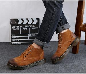 Homme-Bout-D-039-Aile-Retro-Britannique-a-Lacets-Bottines-en-cuir-NOUVEAU-sculpte-Combat-Chaussures