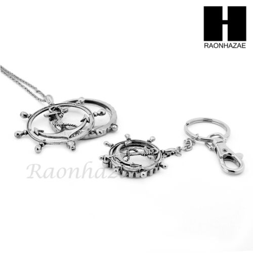 Magnifying Glass Wheel with Anchor Key Chain /& Pendant Chain Necklace Set SJ1S
