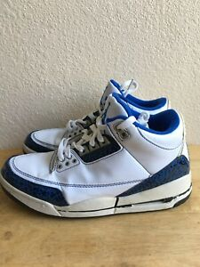 Nike-Air-Jordan-Retro-3-GG-Youth-Size-7Y-Shoes-White-Blue-315297-140-Pre-Owned