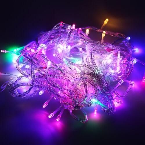 100-600 LED Eisregen Lichtervorhang Lichterkette Weihnachten Hochzeit Außen Deko