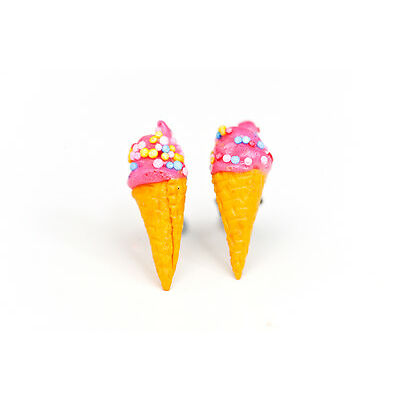 Ice cream studs - Ice cream earrings - Pink / strawberry ice cream studs