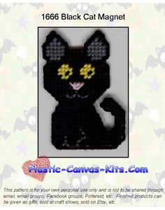 Halloween Black Cat Magnet-Plastic Canvas Pattern or Kit