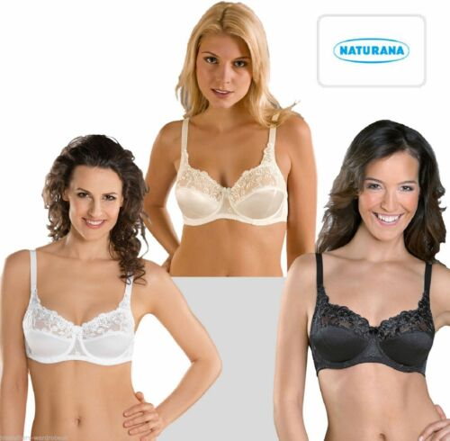 Naturana 87543 Satin Lace Firm Control Full Cup Underwired  Balcony Bra B-DD