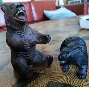 Petits-ours-en-bois-sculpte-yeux-de-verre