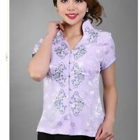4 colours Chinese style women's tops /T-shirts Blouse cheongsam Sz 8 10 12 14 16