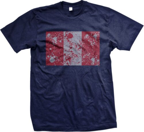 Mens T-shirt Peru Distorted Flag Peruvian World Cup Nationality Ethnic Pride
