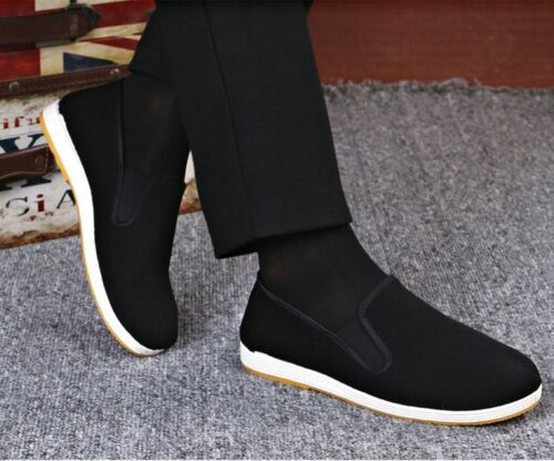 Martial Art Kung Fu Ninja Chinese Shoes Slip On RUBBER Sole Canvas Slippers