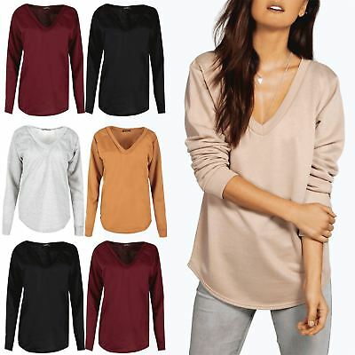Der GüNstigste Preis Womens Oversized Jumper Ladies V Neck Curved Hem Fleece Knitted Baggy Sweatshirt