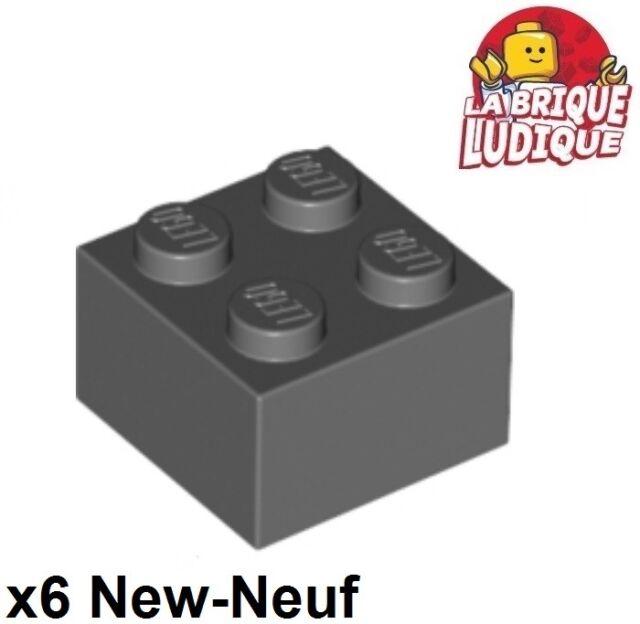 Lego - 6x Brique Brick 2x2 gris foncé/dark bluish gray 3003 NEUF