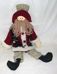 vintage folk art santa claus fabric stuffed doll figure ebay rh ebay com