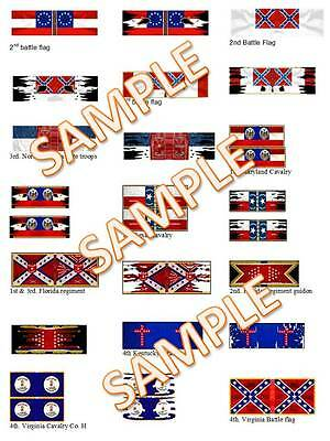 1/72 & 28mm Foundry Style Acw American Flags Lot Different Sets