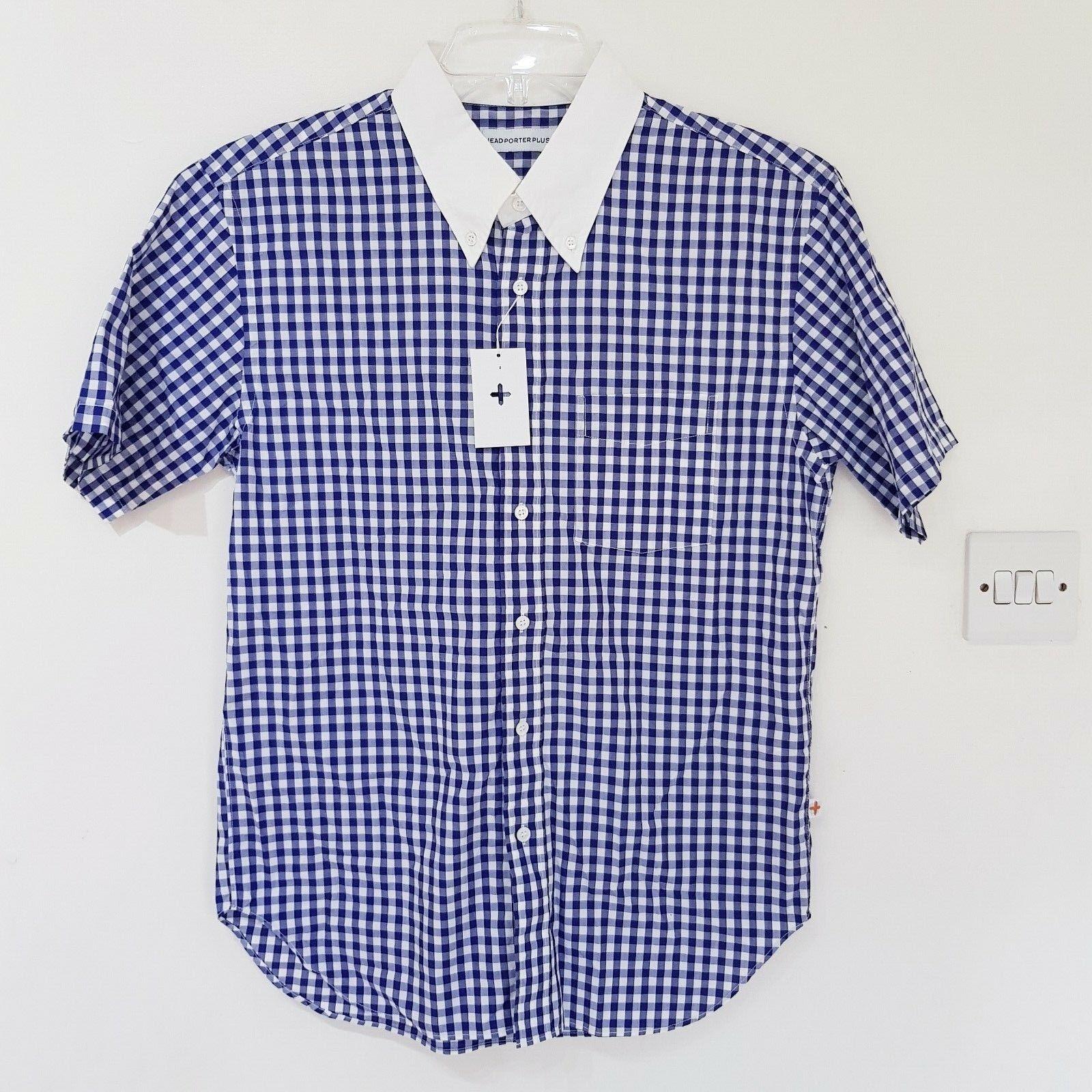 TESTA PORTER Plus Da Da Da Uomo Gingham CLERIC Manica Corta Camicia Blu Taglia L 070ce4