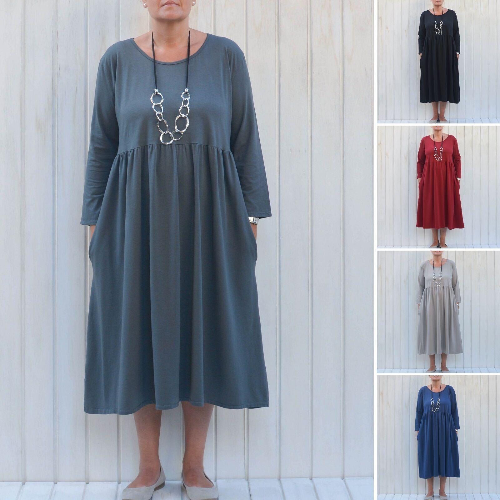 Ladies Lagenlook Plus Size 16 18 20 22 24 26  Womens Pleat Dress UK NEW 7015