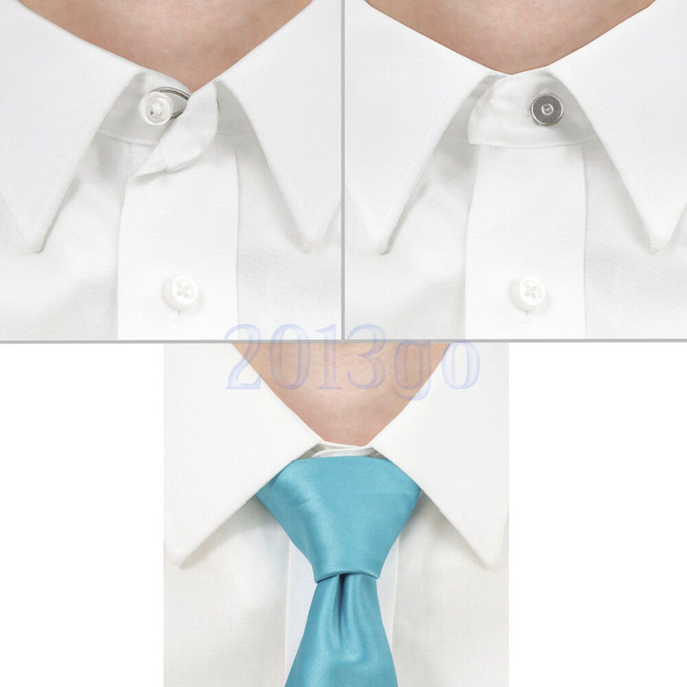 5 Metal Shirt Collar Extenders Expanders Top Neck Tie Buttons&Flexible Spring CG
