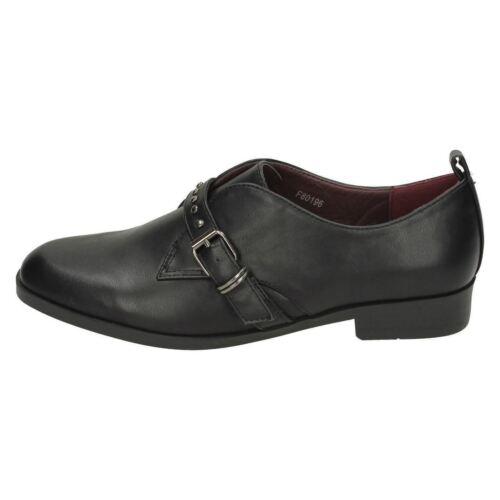 Ladies Spot On Black Slip On Shoe UK Sizes 3-8 F80196