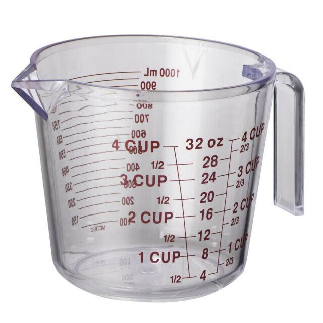 Avanti BPA Free Plastic 1L Flour/Water Kitchen Measuring Jug/Cup w/ Handle Clear