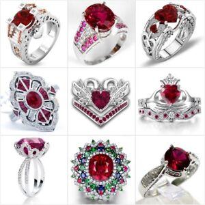 Gorgeous-Silver-Red-Ruby-White-Sapphire-Ring-Women-Wedding-Bridal-Jewelry-Sz6-10