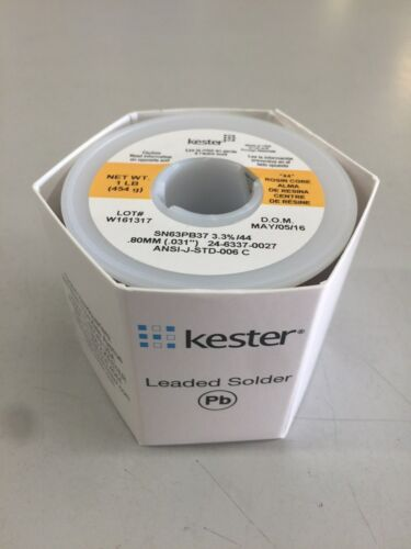KESTER 24-6337-0027 WIRE SOLDER .031 RA ROSIN SN63 PB37 66 FLUX 44 CORE 1 lb NEW