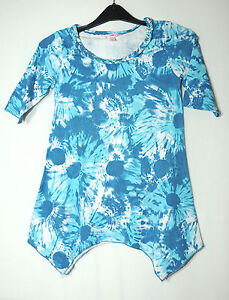 BLUE-WHITE-FLORAL-LADIES-CASUAL-TOP-BLOUSE-SIZE-M-ENERGIE