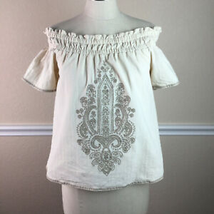 Moon-River-Womens-Top-Embroidered-Peasant-Off-Shoulder-Cotton-Cream-Size-S
