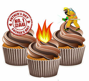 Precut Fathers Day Dad Fireman Firefighter Edible Cupcake Toppers