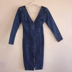 Vintage-80-039-s-Body-Con-Pencil-Zipper-Front-Low-Back-Sexy-Jean-Denim-Dress-Size-5