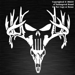 antlers skull punisher buck deer hunting horns decal sticker rh ebay com Deer Logo Design Deer Hunting Logos