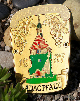 VINTAGE ENAMEL GERMAN AUTOMOBILE CAR BADGE # ADAC PFALZ HOME RALLY 1997 porsche