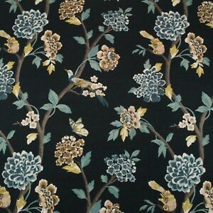 """COVINGTON SIENA UMBER FLORAL VINE MULTIUSE LINEN FABRIC BY THE YARD 54/""""W"""